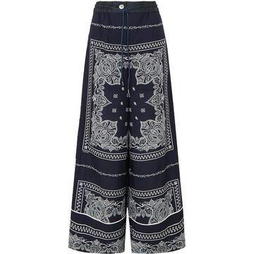 Sacai - Printed Crepe Pants - Navy