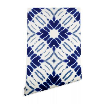 Deny Designs Jacqueline Maldonado Water Shibori 2' X 8' Peel & Stick Wallpaper Blue