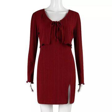 Juniors' Speechless Bodycon Dress & Sweater Set, Girl's, Size: Medium, Red/Coppr