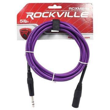 Rockville RCXMB10P 10' Male REAN XLR to 1/4'' TRS Cable Purple 100% Copper
