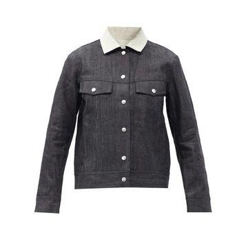 Jil Sander - Contrast-collar Raw-denim Jacket - Womens - Dark Denim