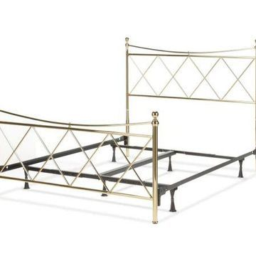 Fashion Bed Group B31134 Lennox Complete Bed, Metal Duo Panels & Diamond Pattern Design - Classic Brass, Full