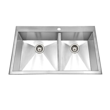 HOUZER Bellus Drop-In 33-in x 22-in Lustrous Satin Double Offset Bowl 1-Hole Kitchen Sink | BCD-3322