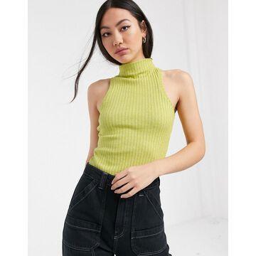 ASOS WHITE sleeveless rib bodysuit-Green