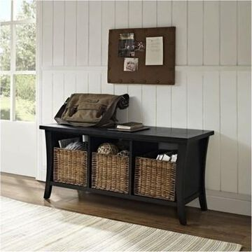 Wood Entryway Storage Bench in Black-Bowery Hill