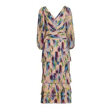 THEIA Ellis Pleated Bishop-Sleeve Dress