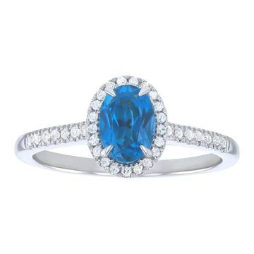 10k White Gold 1 1/7 ct Diamonds and Oval London Blue Topaz Halo Ring by Beverly Hills Charm