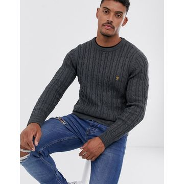 Farah Ludwig cotton cable crew neck sweater in charcoal-Gray