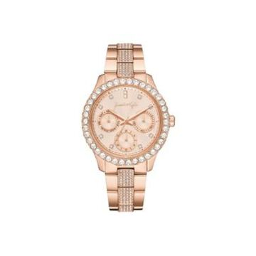 Women's Kendall + Kylie Classic Rose Gold Tone Crystal Bezel Stainless Steel Strap Analog Watch 40mm