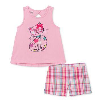 Little Girls 2-Pc. Cat Tank Top & Plaid Shorts Set