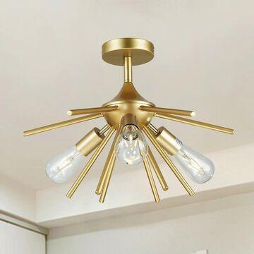 Tyra Gold 3-Light Mid Century Modern Sputnik Semi-Flush Mount
