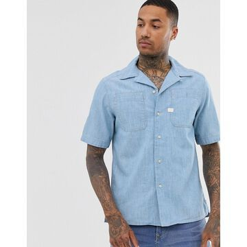 G-Star Kinec organic cotton short sleeve chambray shirt in blue