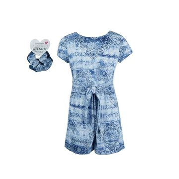 Big Girls Self Belted Tie Romper with Scrunches