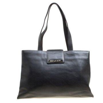 Bvlgari Black Leather Shopper Tote