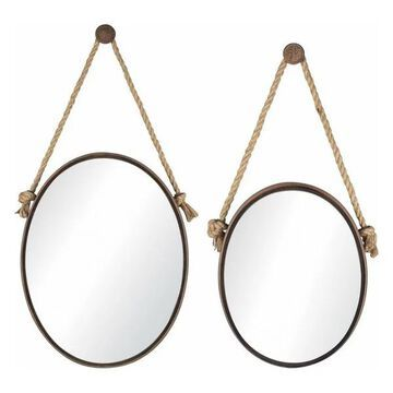 Sterling 2-Piece Set Mirrors On Rope, Oval