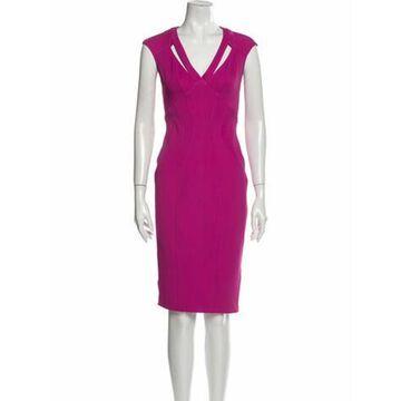 V-Neck Knee-Length Dress Pink