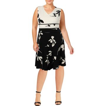 Taylor Womens Plus Colorblock Sleeveless Party Dress