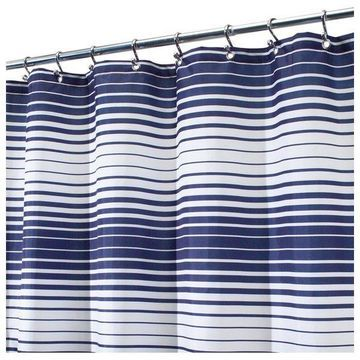 InterDesign Navy and White Enzo Shower Curtain