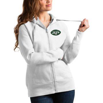 Women's Antigua White New York Jets Victory Full-Zip Hoodie
