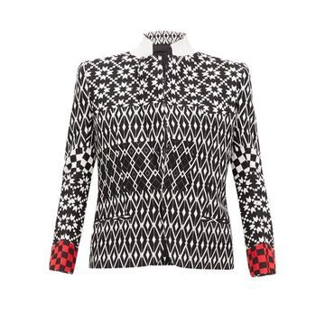 Haider Ackermann - Tailored Geometric Jacquard Wool Jacket - Womens - Black Multi