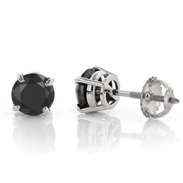 Luxurman 14k Gold Black Diamond Prong Earrings