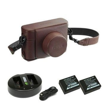 Fujifilm X100F Leather Case (Brown) with Battery (2-Pack) and Dual Charger