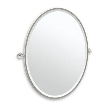 Gatco Glam 33-Inch Framed Oval Mirror in Satin Nickel