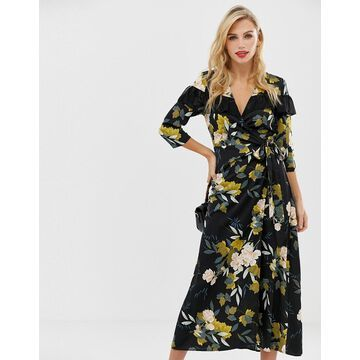Liquorish wrap front floral midi dress with ruffle collar detail-Multi
