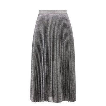 Christopher Kane - Pleated Lame Mesh Skirt - Womens - Silver
