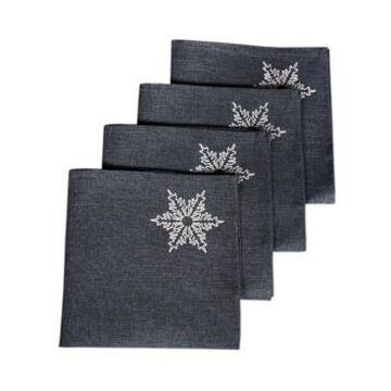 "Xia Home Fashions Glisten Snowflake Embroidered Christmas Napkins, 20"" x 20"", Set of 4"