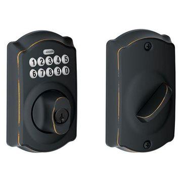 Schlage BE365V-CAM Camelot Single Cylinder Keyed Entry Deadbolt with Keypad