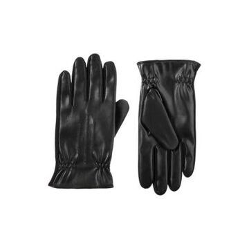 Isotoner Men's MenS Lined Stretch Faux Leather Touchscreen Gloves With Gathered Wrist - -
