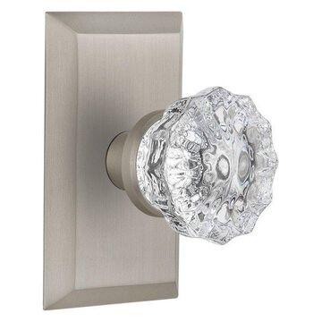 Studio Plate Passage Crystal Glass Door Knob, Satin Nickel