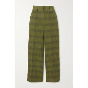 Acne Studios - Checked Linen-blend Straight-leg Pants - Green