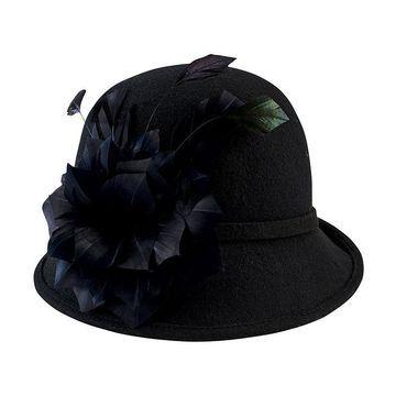 San Diego Hat Company Wool Felt Cloche With Feather Trim