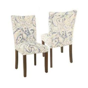 HomePop Classic Parsons Dining Chair - Blue Velvet Paisley Print (Set of 2)