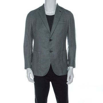 Brioni Green Checked Cashmere Silk Plume Jacket M