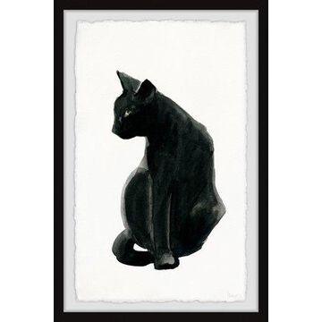 Parvez Taj Mysterious Black Cat Framed Wall Art