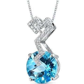 Oravo 14k White Gold Swiss Blue Topaz Diamond Pendant Round 3.21 carat