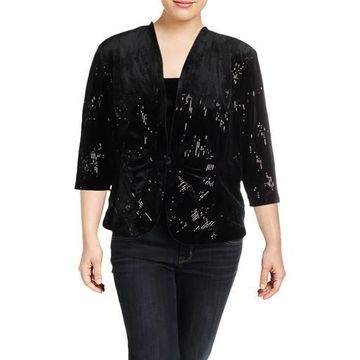 Alex Evenings Womens Plus Velvet Sequined Twinset