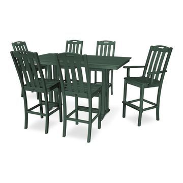Trex Outdoor Furniture Yacht Club 7-Piece Green Frame Dining Patio Dining Set with Dining