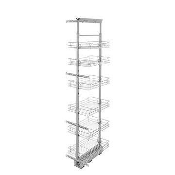 Rev-A-Shelf 14-in W x 74-in H 6-Tier Pull Out Metal Soft Close Baskets & Organizers in Chrome