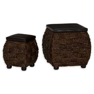 Household Essentials Leather Upholstered Ottomans in Brown (Set of 2)