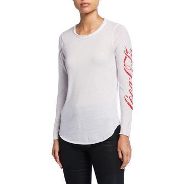 Coca Cola Logo-Sleeve Graphic T-Shirt