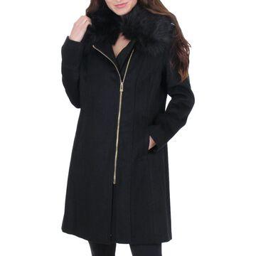 Karl Lagerfeld Paris Women's Faux Fur Trim Wool Midi Coat