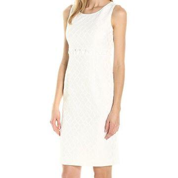 Kasper Womens White Ivory Size 16 Embellished Scoop Neck Sheath Dress