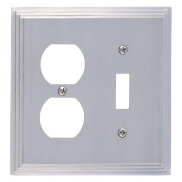 Classic Steps Double, 1-Switch With 1-Outlet, Satin Nickel