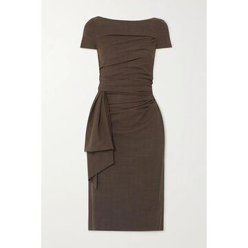 TALBOT RUNHOF - Bouvier Draped Gathered Wool-blend Voile Dress - Gray