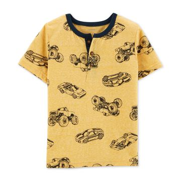 Toddler Boys Car-Print Cotton Henley T-Shirt