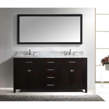 Virtu USA Caroline 72-inch Square Double Bathroom Vanity Set Faucets